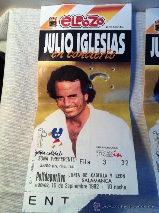 Entrada concierto de Julio Iglesias en Salamanca 1992